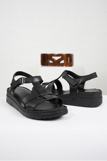 Hakiki Deri Siyah Kadın Komfort Sandalet 221232512