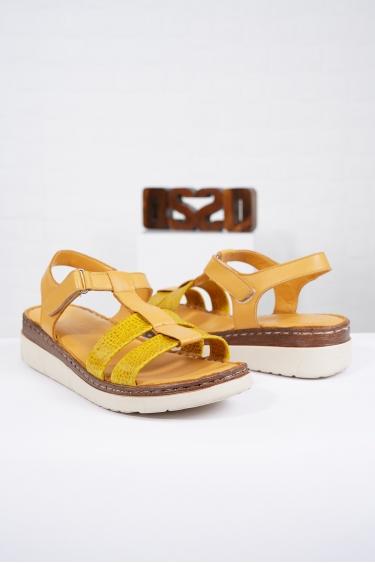 Hakiki Deri Hardal Kadın Komfort Sandalet 221232512