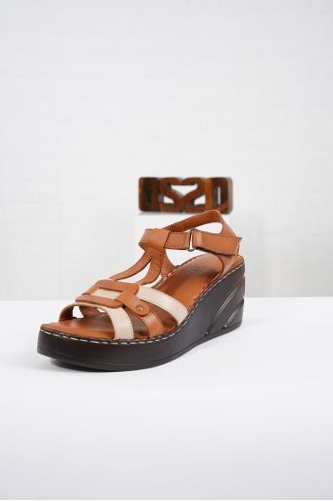 Hakiki Deri Taba-Vizon Kadın Komfort Sandalet 221232513