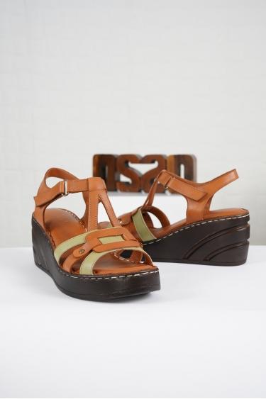 Hakiki Deri Taba-Avokado Kadın Komfort Sandalet 221232513