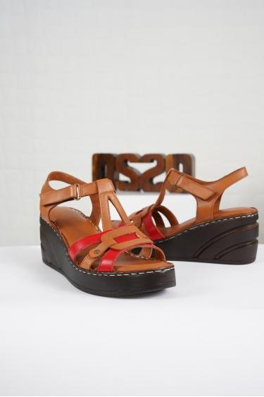 Hakiki Deri Taba-Kırmızı Kadın Komfort Sandalet 221232513