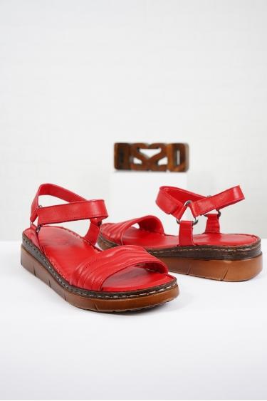 Hakiki Deri Kırmızı Kadın Komfort Sandalet 221232514