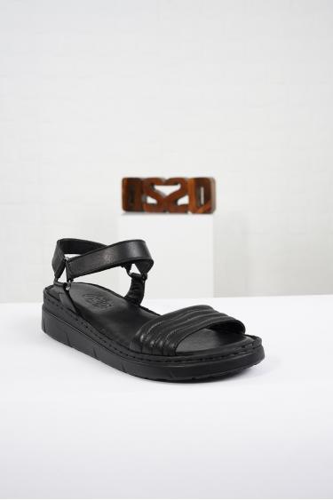 Hakiki Deri Siyah Kadın Komfort Sandalet 221232514