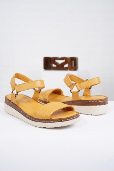 Hakiki Deri Hardal Kadın Komfort Sandalet 221232514