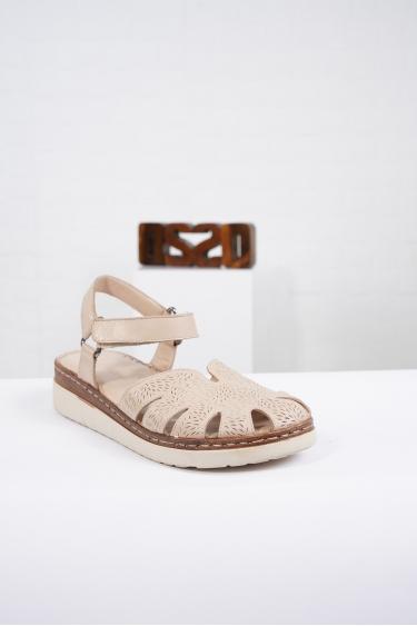 Hakiki Deri Bej Kadın Komfort Sandalet 221232515