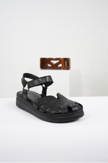 Hakiki Deri Siyah Kadın Komfort Sandalet 221232515