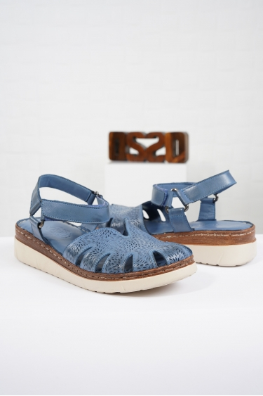 Hakiki Deri Kot Mavi Kadın Komfort Sandalet 221232515