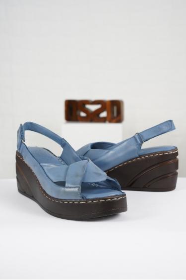 Hakiki Deri Kot Mavi Kadın Komfort Sandalet 221232516
