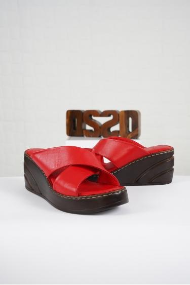 Hakiki Deri Kırmızı Kadın Komfort Terlik 221232601