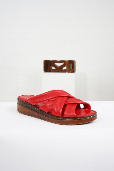 Hakiki Deri Kırmızı Kadın Komfort Terlik 221232604