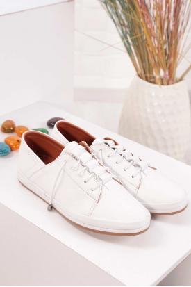 Hakiki Deri Beyaz Kadın Comfort Ayakkabı 235-309 Y