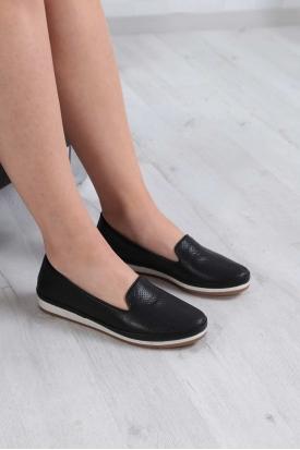 Hakiki Deri Siyah Kadın Comfort Ayakkabı 235-299-D