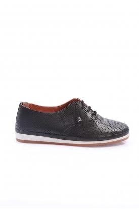 Hakiki Deri Siyah Kadın Comfort Ayakkabı 235-303-D