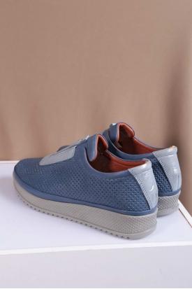 Hakiki Deri Kot Mavi-Mavi Sim Kadın Comfort Ayakkabı 202235111