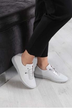 Hakiki Deri Beyaz-Beyaz Sim Kadın Comfort Ayakkabı 211235103