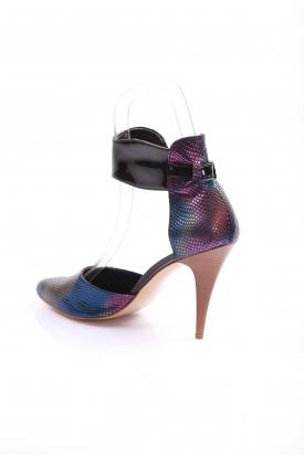 Siyah Gökkuşağı Kadın Bilekten Bağlı Ayakkabı 251-15211-4