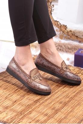 Bronz Yılan Kadın Loafer Ayakkabı 251-16251-23