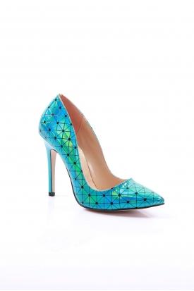 Mavi Hologram Kadın Stiletto Ayakkabı 251-32-100