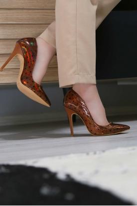 Bronz Hologram Kadın Stiletto Ayakkabı 251-32-100