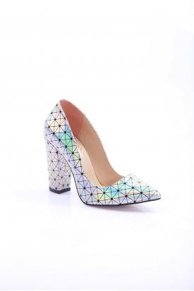 Gümüş Hologram Kadın Stiletto Ayakkabı 251-32-200