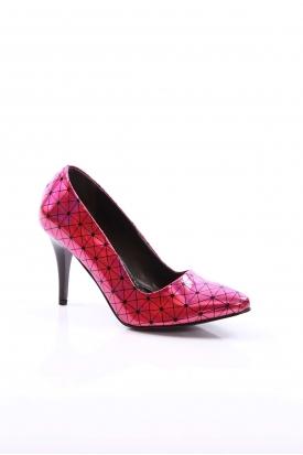 Fuşya Hologram Kadın Stiletto Ayakkabı 251-3211