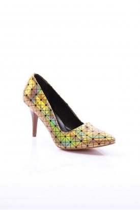 Altın Hologram Kadın Stiletto Ayakkabı 251-3211